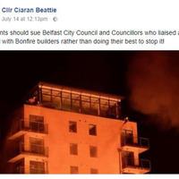 Sinn Féin councillor calls on residents to sue fellow councillors and Belfast City Council after bonfire debacle