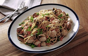 James Street South Cookery School: Spaghetti with clams; Lamb chops with anchovy salsa