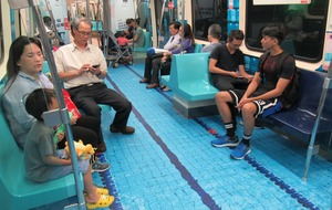 This specially designed Taiwanese train lets you dive into a pool as well as play a bit of football