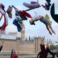 Nothing to see here, just a bunch of circus performers outside the Houses of Parliament