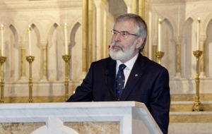 Gerry Adams uses Washington meeting to challenge James Brokenshire on bonfire 'silence'