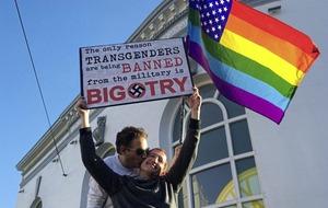 Demonstrators protest over Trump ban on transgender people serving in US military