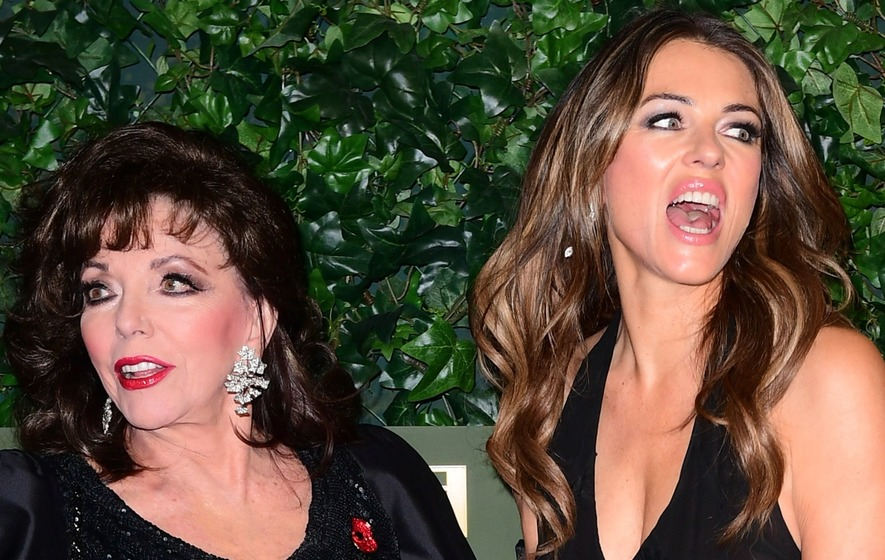 Elizabeth Hurley and Dame Joan Collins enjoy 'actress talk' on The Royals