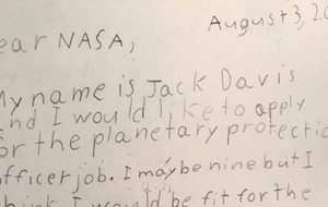 A nine-year-old applied for Nasa's Planetary Protection Officer job and they took the time to reply