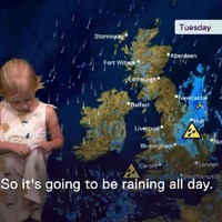 Four-and-a-half-year-old Olive had a go at reading the weather