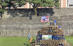 Video: Poppy wreaths and flags burnt on controversial Derry bonfire