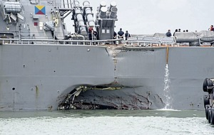 Search for 10 missing sailors after USS John S McCain collides with oil tanker