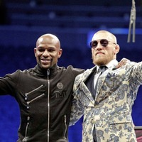 Conor McGregor celebrates despite loss to Floyd Mayweather in Las Vegas