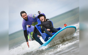 Benone beach in Co Derry now has equipment for disabled people including a surfboard for wheelchair users