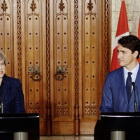 Theresa May and Justin Trudeau show united front over Bombardier fears