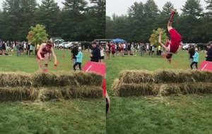 A gymnast took an acrobatic approach in this cross-country race