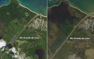 Battered Puerto Rico has changed from green to brown after Hurricane Maria
