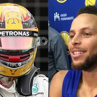 Watch: Lewis Hamilton lends Stephen Curry his racing helmet on the golf course