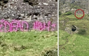 Anger over 'dead' graffiti daubed on Cave Hill in Belfast