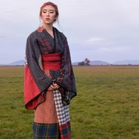 This teenage artist cut up men's boxer shorts and shirts to create a unique kimono