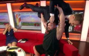 Video: BBC Breakfast's Dan Walker bench pressed during live broadcast