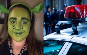 This teen got pulled over by police while wearing full Shrek makeup