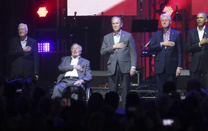 Five former US presidents appear together at hurricane relief concert