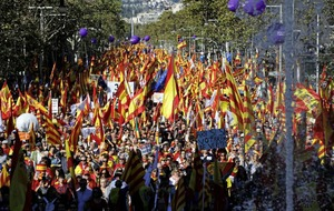 Hundreds of thousands rally in Barcelona against push for Catalan independence