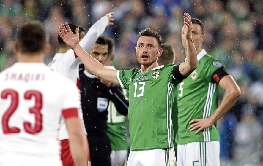 Northern Ireland's Corry Evans is exasperated after Thursday night's penalty award