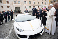 Pope Francis has been given the keys to a Lamborghini