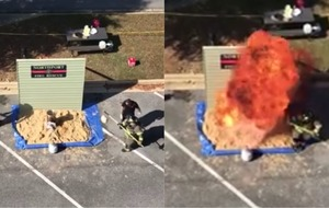Watch a fire service give an explosive lesson on how not to cook turkey