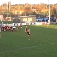 Timber! Watch as a powerful rugby scrum fells the goalposts