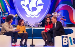 Duke of Cambridge jokes about comparing his Blue Peter badge with the Queen's