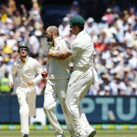 Watch Nathan Lyon's remarkable bowl and catch at the Ashes