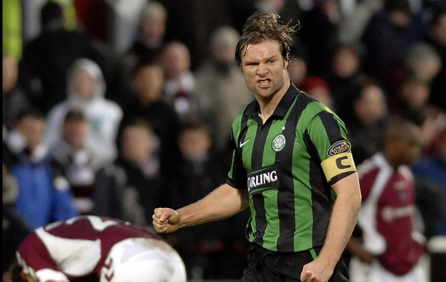 421d11d371 Celtic captain Steven Pressley celebrates their 2-1 victory over Hearts  during the Bank of Scotland Premier League match at the Tynecastle Stadium  Edinburgh ...