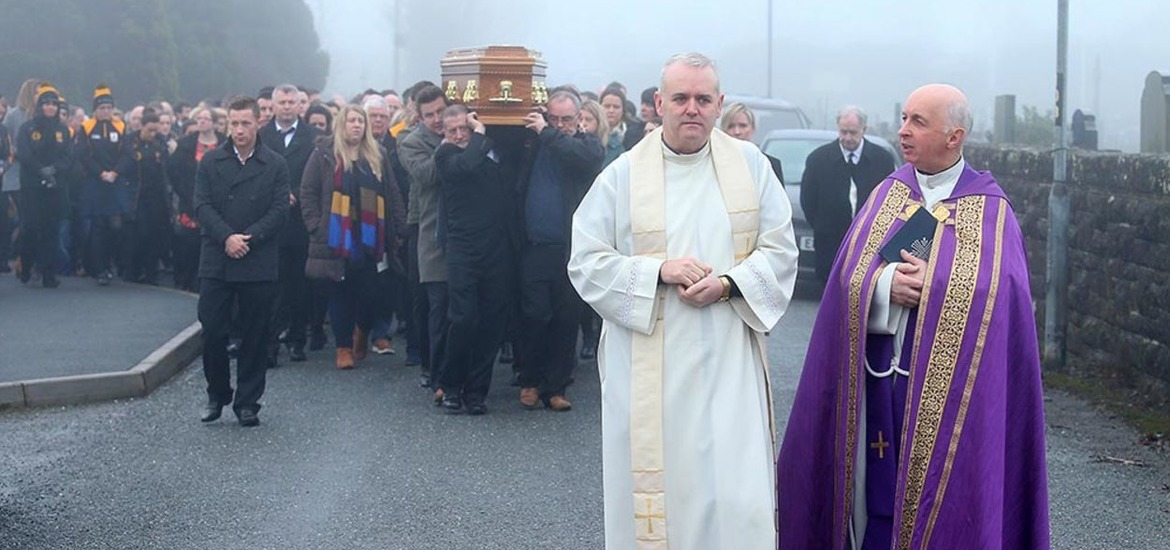 The funeral of Christopher (Crico) Colhoun who died from flu complications age 33