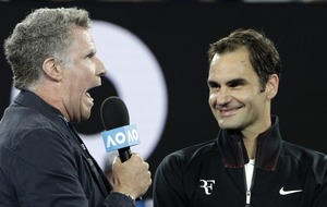 Watch: Will Ferrell gatecrashes Roger Federer's post match interview at the Australian Open