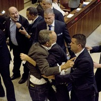 Arab politicians thrown out of the Israeli parliament for heckling US vice-president Mike Pence