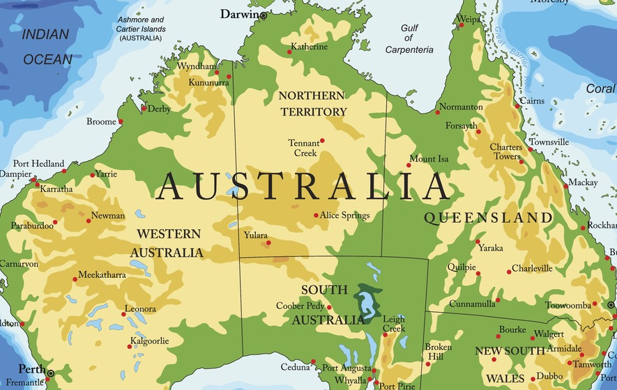 Australia And America Map.A Town In Australia May Have Once Been A Part Of Canada New Study
