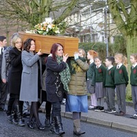Pupils from north's oldest Irish language school form guard of honour in tribute to founding father ahead of funeral