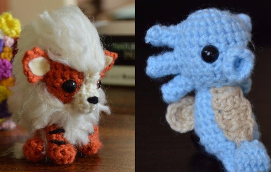 My finished crocheted mini Kanto starter set! - pokemon | 560x885