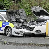 Police car badly damaged after weekend crash