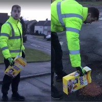 People filled potholes with Coco Pops in response to a council's road repair budget