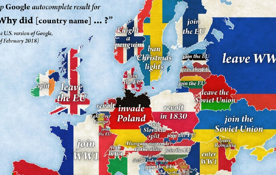 the map shows the questions people want answered about european countries