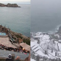 Cornwall's Minack Theatre has been transformed from summer paradise to winter wonderland by the snow