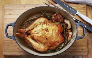 James Street South Cookery School: Chicken with garlic and rosemary and Pommes dauphinoises