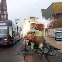 The Hulk stops traffic in Blackpool as superheroes arrive at Madame Tussauds