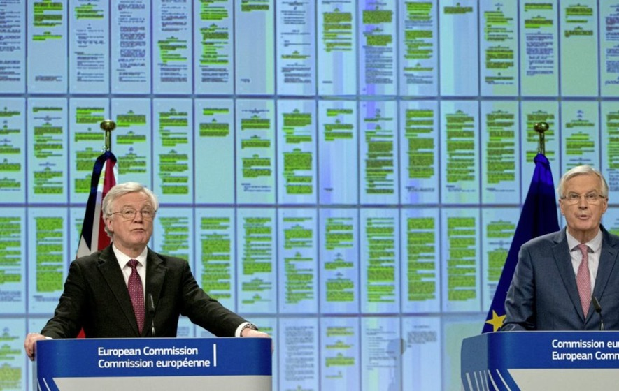 British government Brexit secretary David Davis and European Union chief Brexit negotiator Michel Barnier in Brussels