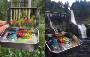 Artist goes viral for creating miniature landscapes right next to the real thing