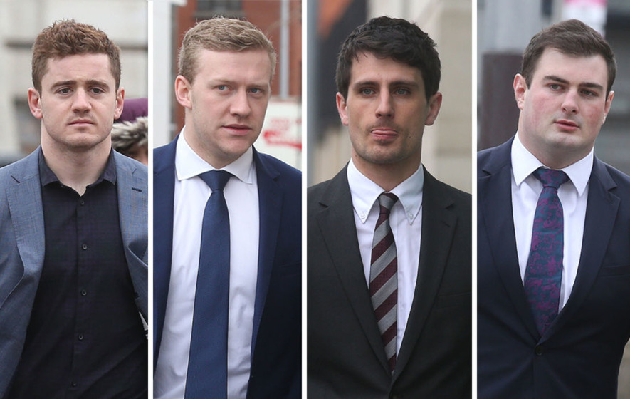 Protesters voice anger in Belfast over rugby rape trial verdict