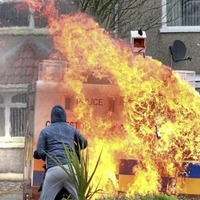 Police attacked with petrol bombs at Easter commemoration