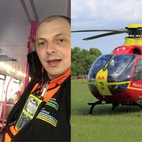 Air ambulance crew shares selfie as they ditch helicopter for public transport