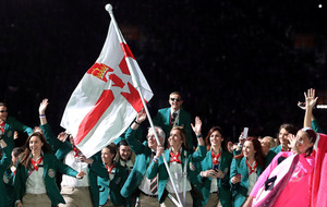 Armagh ladies' football star Caroline O'Hanlon carries flag at Commonwealth Games