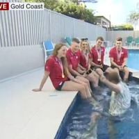 Presenter Mike Bushell falls into pool during live TV interview
