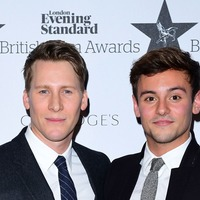 Tom Daley and Dustin Lance Black celebrate at baby shower